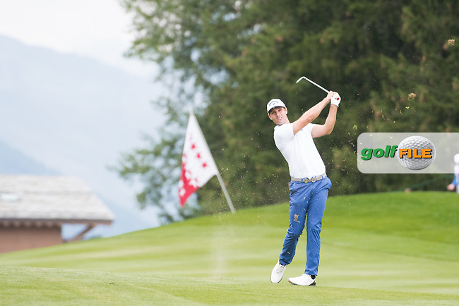 Andrea Pavan (ITA) in action on the 1st hole during final round at the Omega European Masters, Golf Club Crans-sur-Sierre, Crans-Montana, Valais, Switzerland. 01/09/19.<br /> Picture Stefano DiMaria / Golffile.ie<br /> <br /> All photo usage must carry mandatory copyright credit (© Golffile | Stefano DiMaria)