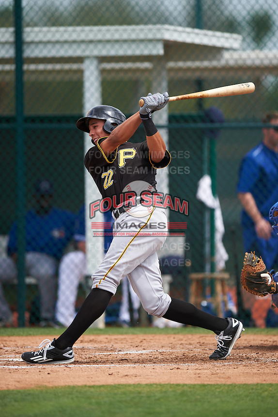 Pittsburgh Pirates Cole Tucker (22) during a minor league Spring Training game against the Toronto Blue Jays on March 24, 2016 at Pirate City in Bradenton, Florida.  (Mike Janes/Four Seam Images)