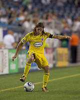 Columbus Crew defender Frankie Hejduk (2) controls cross field pass. The New England Revolution tied Columbus Crew, 2-2, at Gillette Stadium on September 25, 2010.