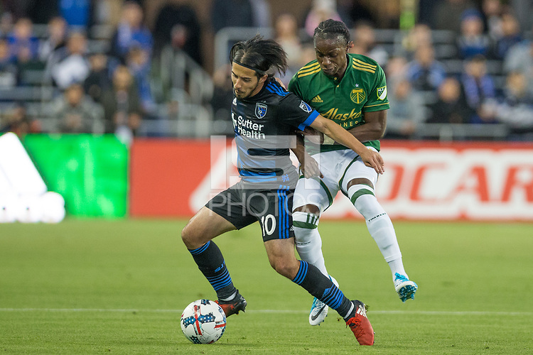 Santa Clara, CA - Saturday, May 6, 2017: The San Jose Earthquakes beat the Portland Timbers 3-0 at the Avaya Stadium in Santa Clara.