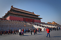 Forbidden City, including Tiananmen, Hall of The Clocks and Hall of the Treasures in Beijing, China