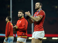 Jamie Roberts of Wales thanks home supporters after the RBS 6 Nations Championship rugby game between Wales and Scotland at the Principality Stadium, Cardiff, Wales, UK Saturday 13 February 2016