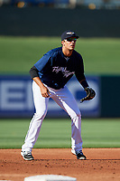 Lakeland Flying Tigers third baseman Danny Pinero (22) during the first game of a doubleheader against the Bradenton Marauders on April 11, 2018 at Publix Field at Joker Marchant Stadium in Lakeland, Florida.  Lakeland defeated Bradenton 5-4.  (Mike Janes/Four Seam Images)