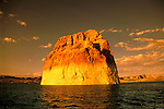 AZ, Arizona Lake Powell, near Grand Canyon National Park, scenic, Lone Rock at sunset.Photo Copyright: Lee Foster, lee@fostertravel.com, www.fostertravel.com, (510) 549-2202.Image: azlkpo204