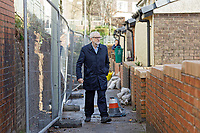 Pictured: Jeremy Corbyn walks in front of house that got damaged in the recent flood. Thursday 20 February 2020<br /> Re: Jeremy Corbyn, the leader of the Labour Party visits the area of Rhydyfelin near Pontypridd, south Wales, UK.
