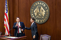 TALLAHASSEE, FLA. 11/22/16-Incoming Senate President Joe Negron, R-Stuart, left, receives the gavel from outgoing Senate President Andy Gardiner, R-Orlando, during the 2016 organizational session at the Capitol in Tallahassee.<br /> <br /> COLIN HACKLEY PHOTO