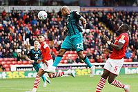 Andre Ayew of Swansea City heads the ball forward, moments before he scored the opening goal during the Sky Bet Championship match between Barnsley and Swansea City at Oakwell Stadium, Barnsley, England, UK. Saturday 19 October 2019