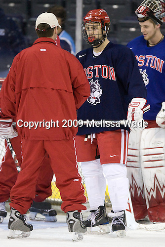 Quinn, Kevin Shattenkirk (BU - 3), Rollheiser - The Boston University Terriers practiced on Friday, April 10, 2009, during the 2009 Frozen Four at the Verizon Center in Washington, DC.
