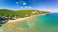 The beach Chrisi Milia of Alonissos island from drone view, Greece