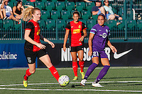 Rochester, NY - Saturday June 11, 2016: Western New York Flash midfielder Samantha Mewis (5), Orlando Pride defender Monica Hickman Alves (21) during a regular season National Women's Soccer League (NWSL) match between the Western New York Flash and the Orlando Pride at Rochester Rhinos Stadium.