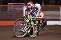 Heat 9: Leigh Adams (white) and Kauko Nieminen (red) - Lakeside Hammers vs Swindon Robins, Elite League Speedway at the Arena Essex Raceway, Purfleet - 03/09/10 - MANDATORY CREDIT: Rob Newell/TGSPHOTO - Self billing applies where appropriate - 0845 094 6026 - contact@tgsphoto.co.uk - NO UNPAID USE.