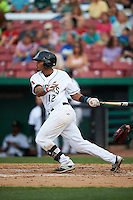 Kane County Cougars shortstop Dawel Lugo (12) at bat during a game against the Great Lakes Loons on August 13, 2015 at Fifth Third Bank Ballpark in Geneva, Illinois.  Great Lakes defeated Kane County 7-3.  (Mike Janes/Four Seam Images)