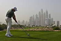 Tom Lewis (ENG) on the 8th tee during Round 1 of the Omega Dubai Desert Classic, Emirates Golf Club, Dubai,  United Arab Emirates. 24/01/2019<br /> Picture: Golffile | Thos Caffrey<br /> <br /> <br /> All photo usage must carry mandatory copyright credit (&copy; Golffile | Thos Caffrey)