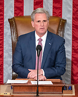 United States House Minority Leader Kevin McCarthy (Republican of California) makes remarks from the Speaker's chair as the 116th Congress convenes for its opening session in the US House Chamber of the US Capitol in Washington, DC on Thursday, January 3, 2019.<br /> Photo Credit: Ron Sachs/CNP/AdMedia