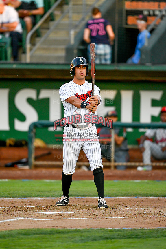 Pioneer League All-Star Aaron Schnurbusch (21) of the Great Falls Voyagers at bat against the Northwest League All-Stars at the 2nd Annual Northwest League-Pioneer League All-Star Game at Lindquist Field on August 2, 2016 in Ogden, Utah. The Northwest League defeated the Pioneer League 11-5. (Stephen Smith/Four Seam Images)