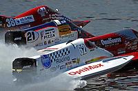 Chris Fairchild (#62) races off the start dock alongside Brian Venton (#17), Jose Mendana, Jr. (#21) and Jeff Shepherd, (#38).  (Formula 1/F1/Champ class)
