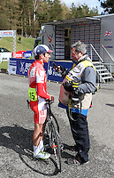 PICTURE BY VAUGHN RIDLEY/SWPIX.COM - Cycling - 2013 Premier Calander Road Race Series - Tour of the Reservoir, Stage 1 - Blanchland, Northumberland, England - 27/04/13 - Simon Yates of 100% Me speaks with the media.