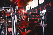 Pantera - drummer Vinnie Paul Abbott performing live on the main stage at the Monsters of Rock held at Donington Park UK - 04 Jun 1994.  Photo credit: Eddie Malluk/IconicPix
