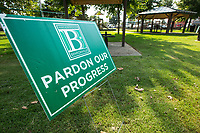 NWA Democrat-Gazette/BEN GOFF @NWABENGOFF<br /> A sign sits in the closed playground area Wednesday, Sept. 4, 2019, at Dave Peel Park in downtown Bentonville. Bentonville Parks and Recreation plans to hold a public input meeting for the downtown parks master plan 6:00 p.m. Monday, Sept. 16 at the Bentonville Public Library.