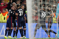 Atletico de Madrid's players celebrate goal during Champions League 2015/2016 match. April 5,2016. (ALTERPHOTOS/Acero) <br /> Barcellona 05-04-2016 <br /> Football Calcio 2015/2016 Champions League <br /> Barcellona - Atletico Madrid Quarti di finale<br /> Foto Alterphotos / Insidefoto <br /> ITALY ONLY