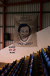 Danny Bergara banner in The Cheadle End. Stockport County v Barnet, 07032020. Edgeley Park, National League. Photo by Paul Thompson.