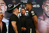 Andy Ruiz Jr and Anthony Joshua go head to head during a Press Conference at Hilton London Syon Park on 6th September 2019