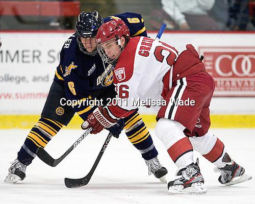 Cory Hibbeler (Quinnipiac - 6), Luke Greiner (Harvard - 26) - The Harvard University Crimson and Quinnipiac University Bobcats played to a 2-2 tie on Saturday, November 5, 2011, at Bright Hockey Center in Cambridge, Massachusetts.