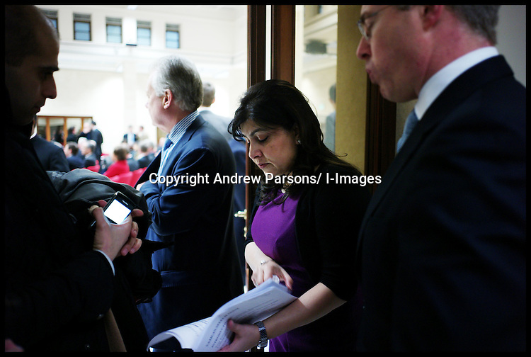 Sayeeda Warsi gets ready to deliver her speech to Pontifical ecclesiastical academy, Sayeeda Warsi has brought the largest British delegation to the Vatican, Tuesday February 14, 2012. Photo by Andrew Parsons/ I-images.BYLINE MUST READ ANDREW PARSONS/i-Images