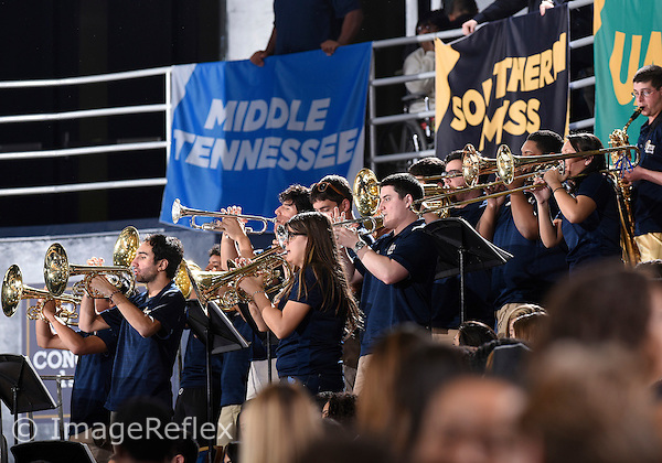 Florida International University Band plays during the game against Western Kentucky University which won the game 65-58 on January 17, 2015 at Miami, Florida.