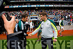 Eamon Fitzmaurice, Kerry Manager,  against  Kildare in the All Ireland Quarter Final at Croke Park on Sunday.