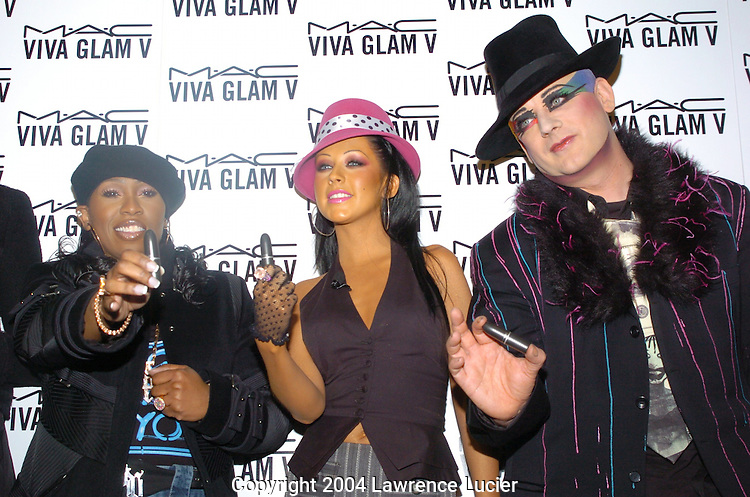 Missy Elliot, Christina Aguilera, and Boy George