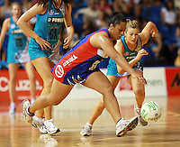 20.03.2010 Mystics Finau Pulu in action during the ANZ Champs Netball match between the Mystics and Thunderbirds at Trusts Stadium in Auckland. Mandatory Photo Credit ©Michael Bradley.