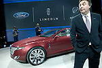 Peter Horbury, Ford Motor Company Executive Director of Design, the Americas, with the Lincoln MKR concept car at the North American International Auto Show, 2007