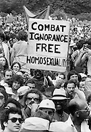 Central Park, Manhattan, NYC, June 24, 1979 - Thousands of gays and lesbians celebrate the Gay Pride 10th anniversary. The march went on 6th Avenue, all the way to Central Park, where it finished.