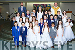 Pupils from Gaeliscoil Faithleann Killarney at their First Holy Communion with AnToin O Ceallachaim in Church of the Ressurection Killarney  on Saturdayn and Fr Tom Looney