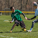 30 April 2016: The Vermont Commons School Flying Turtles Varsity Ultimate Team plays Colchester High School in the Champlainships Ultimate Disk Tournament at the Williston Regional Center in Williston, Vermont. Mandatory Credit: Ed Wolfstein Photo *** RAW (NEF) Image File Available ***