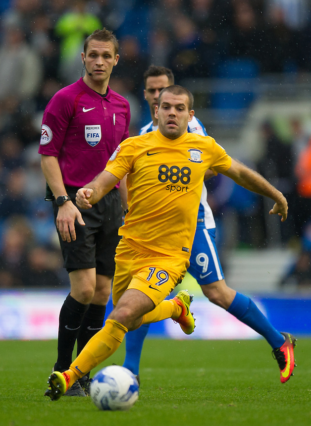 Preston North End's John Welsh in action during todays match  <br /> <br /> Photographer Ashley Western/CameraSport<br /> <br /> The EFL Sky Bet Championship - Brighton &amp; Hove Albion v Preston North End - Saturday 15th October 2016 - American Express Community Stadium - Brighton<br /> <br /> World Copyright &copy; 2016 CameraSport. All rights reserved. 43 Linden Ave. Countesthorpe. Leicester. England. LE8 5PG - Tel: +44 (0) 116 277 4147 - admin@camerasport.com - www.camerasport.com