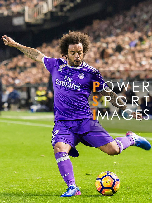 Marcelo Vieira Da Silva of Real Madrid in action during their La Liga match between Valencia CF and Real Madrid at the Estadio de Mestalla on 22 February 2017 in Valencia, Spain. Photo by Maria Jose Segovia Carmona / Power Sport Images
