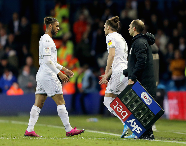 Leeds United's Tyler Roberts is replaced by Luke Ayling in the second half<br /> <br /> Photographer Rich Linley/CameraSport<br /> <br /> The EFL Sky Bet Championship - Tuesday 1st October 2019  - Leeds United v West Bromwich Albion - Elland Road - Leeds<br /> <br /> World Copyright © 2019 CameraSport. All rights reserved. 43 Linden Ave. Countesthorpe. Leicester. England. LE8 5PG - Tel: +44 (0) 116 277 4147 - admin@camerasport.com - www.camerasport.com