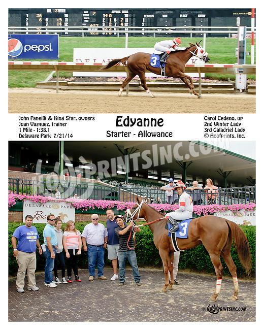 Edyanne winning at Delaware Park on 7/21/14