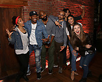 "Sasha Hollinger, Bryan Terrell Clark, Nik Walker, Javon McFerrin, Anthony Lee Medina, Lauren Boyd and Eliza Ohman from the 'Hamilton' cast backstage as Students attend The Rockefeller Foundation and The Gilder Lehrman Institute of American History sponsored High School student #EduHam matinee performance of ""Hamilton"" at the Richard Rodgers Theatre on 4/26/2017 in New York City."