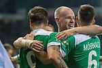 08.03.2019, Weser Stadion, Bremen, GER, 1.FBL, Werder Bremen vs FC Schalke 04, <br /> <br /> DFL REGULATIONS PROHIBIT ANY USE OF PHOTOGRAPHS AS IMAGE SEQUENCES AND/OR QUASI-VIDEO.<br /> <br />  im Bild<br /> <br /> Jubel Martin Harnik (Werder Bremen #09) Tor 4:2 Kevin M&ouml;hwald / Moehwald (Werder Bremen #06)<br /> Davy Klaassen (Werder Bremen #30)<br /> <br /> Foto &copy; nordphoto / Kokenge