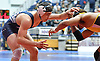 Peter Pappas of Plainview JFK, left, battles Marlon Porter of Uniondale at 152 pounds during the Nassau County Divsision I varsity wrestling quarterfinals at Hofstra University on Saturday, Feb. 11, 2017. Pappas won the match by technical fall.