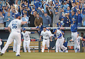 Norichika Aoki (Royals), team group,<br /> OCTOBER 15, 2014 - MLB : Norichika Aoki (23) of the Kansas City Royals celebrates after winning the Major League Baseball American League championship series Game 4 at Kauffman Stadium in Kansas City, Missouri, USA. <br /> (Photo by AFLO)