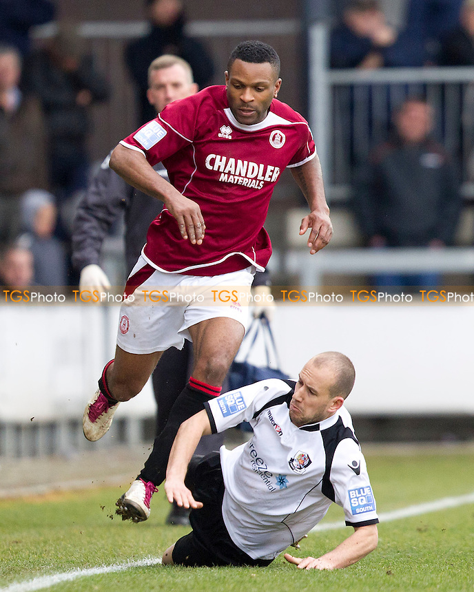 Adam Green of Dartford Town prevents forward progress by Kezie Ibe of Chelmsford City - Dartford vs Chelmsford City - Blue Square Conference South Football at Princes Park - 07/04/12 - MANDATORY CREDIT: Ray Lawrence/TGSPHOTO - Self billing applies where appropriate - 0845 094 6026 - contact@tgsphoto.co.uk - NO UNPAID USE.
