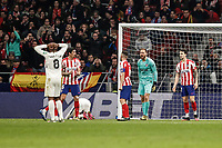 8th February 2020; Wanda Metropolitano Stadium, Madrid, Spain; La Liga Football, Atletico de Madrid versus Granada; Goalkeeper Jan Oblak (Atletico de Madrid) shouts at his defenders as Granada come close to a goal