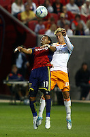 Javier Morales, Stuart Holden in the Real Salt Lake v Houston 0-0 draw win at Rio Tinto Stadium in Sandy, Utah on August 15, 2009