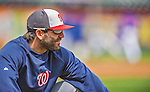 20 April 2013: Washington Nationals second baseman Danny Espinosa stretches out prior to a game against the New York Mets at Citi Field in Flushing, NY. The Nationals rallied to defeat the Mets 7-6 and tie their 3-game series at one a piece. Mandatory Credit: Ed Wolfstein Photo *** RAW (NEF) Image File Available ***