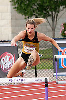 Missouri senior Leslie Farmer clears the second hurdle during the final of the 400 meter hurdles Sunday at the Big 12 Outdoor Track and Field Championships in Manhattan, Ks. Farmer placed 7th in 58.62 while in the preliminaries on Saturday bettered her school record with a time of 57.80 to finish 5th and qualify for the finals.