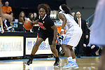 16 December 2014: Oregon State's Jen'Von'Ta Hill (22) and North Carolina's Jamie Cherry (right). The University of North Carolina Tar Heels hosted the Oregon State University Beavers at Carmichael Arena in Chapel Hill, North Carolina in a 2014-15 NCAA Division I Women's Basketball game. Oregon State won the game 70-55.
